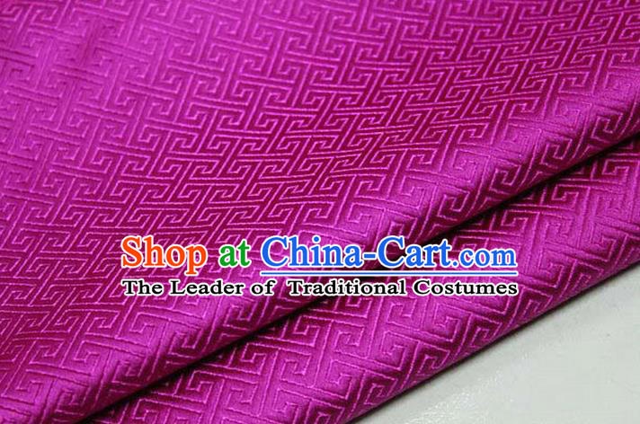 Chinese Traditional Ancient Costume Palace Back Pattern Rosy Brocade Cheongsam Satin Mongolian Robe Fabric Hanfu Material