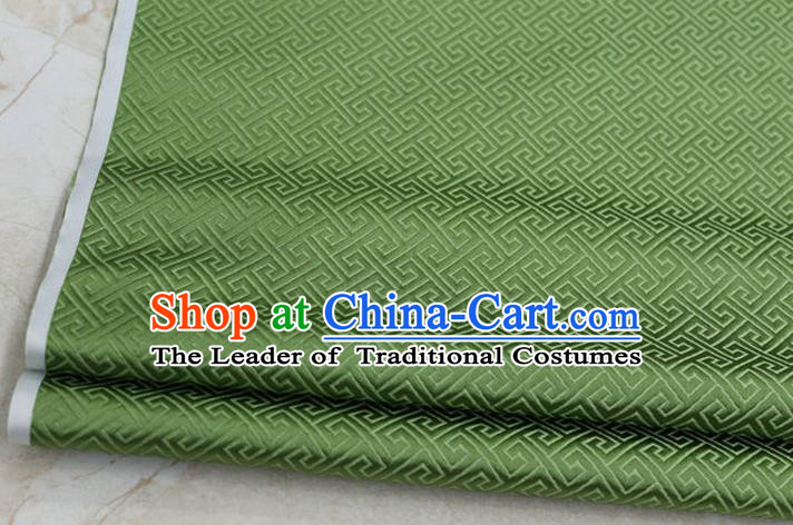 Chinese Traditional Ancient Costume Palace Back Pattern Green Brocade Cheongsam Satin Mongolian Robe Fabric Hanfu Material