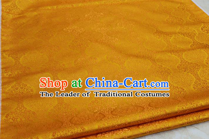 Chinese Traditional Ancient Costume Palace Pattern Cheongsam Mongolian Robe Orange Brocade Tang Suit Fabric Hanfu Material