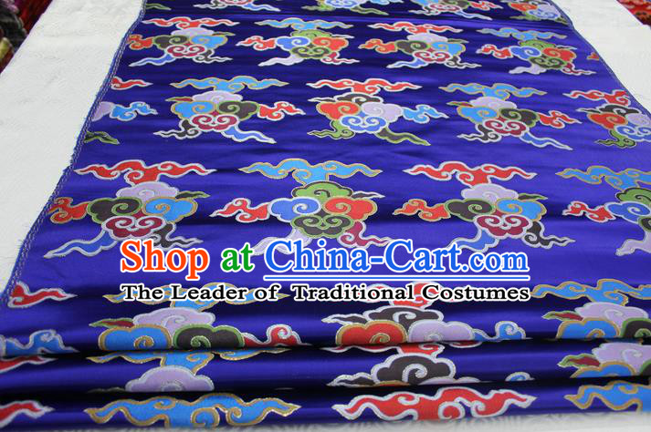 Chinese Traditional Ancient Costume Palace Clouds Pattern Cheongsam Tibetan Robe Blue Brocade Tang Suit Fabric Hanfu Material