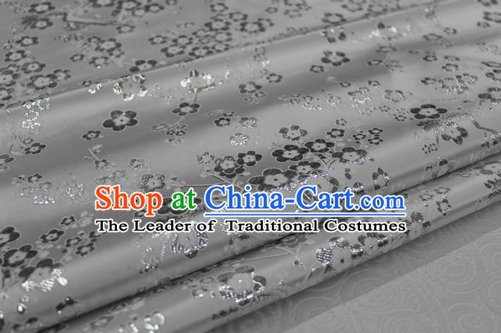 Chinese Traditional Ancient Costume Palace Wintersweet Pattern Cheongsam Grey Brocade Tang Suit Satin Fabric Hanfu Material
