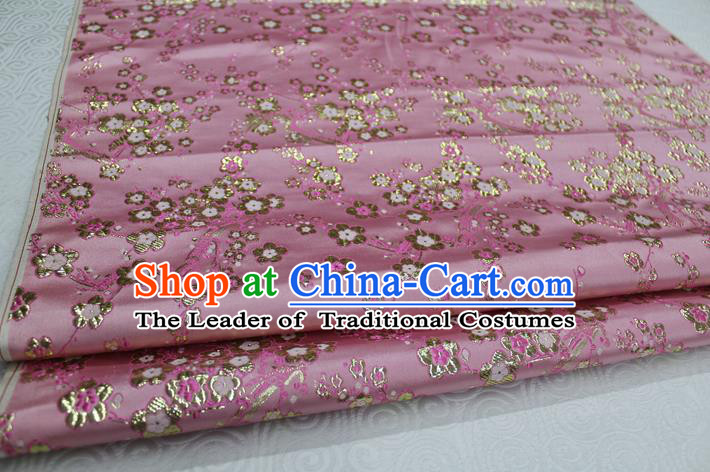 Chinese Traditional Ancient Costume Palace Wintersweet Pattern Cheongsam Pink Brocade Tang Suit Satin Fabric Hanfu Material