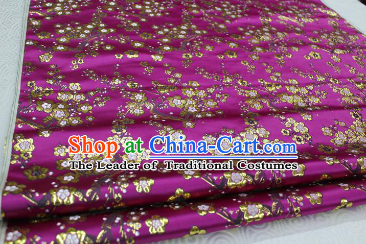 Chinese Traditional Ancient Costume Palace Wintersweet Pattern Cheongsam Purple Brocade Tang Suit Satin Fabric Hanfu Material