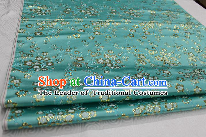 Chinese Traditional Ancient Costume Palace Wintersweet Pattern Cheongsam Blue Brocade Tang Suit Satin Fabric Hanfu Material