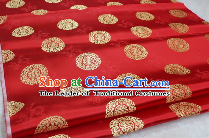 Chinese Traditional Ancient Costume Palace Round Dragons Pattern Cheongsam Red Brocade Tang Suit Satin Fabric Hanfu Material