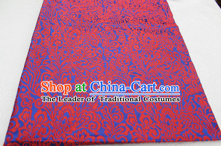 Chinese Traditional Ancient Costume Palace Phoenix Flower Pattern Tang Suit Blue Brocade Cheongsam Satin Fabric Hanfu Material