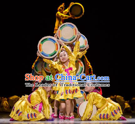 Traditional Chinese Modern Dancing Costume Opening Dance Clothing Modern Dance Dress for Kids