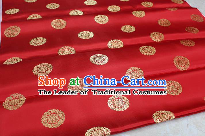 Chinese Traditional Ancient Costume Palace Longevity Pattern Cheongsam Red Brocade Tang Suit Satin Fabric Hanfu Material