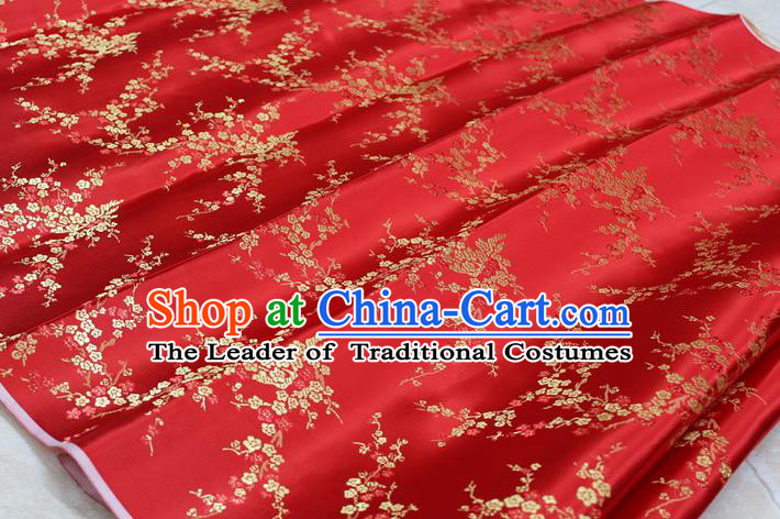 Chinese Traditional Ancient Costume Palace Wintersweet Pattern Cheongsam Red Brocade Tang Suit Satin Fabric Hanfu Material