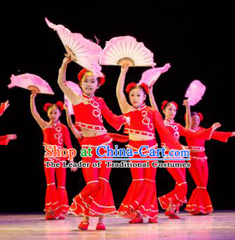Traditional Chinese Yangge Fan Dance Costume, Folk Dance Drum Dance Red Uniform Yangko Clothing for Kids