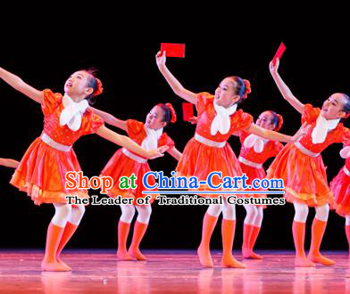 Traditional Chinese Classic Stage Performance Dance Costume, Chinese Ballet Dance Red Dress Clothing for Women