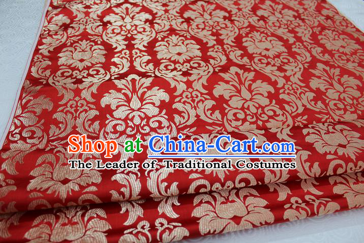 Chinese Traditional Ancient Costume Palace Pattern Xiuhe Suit Red Brocade Cheongsam Satin Fabric Hanfu Material