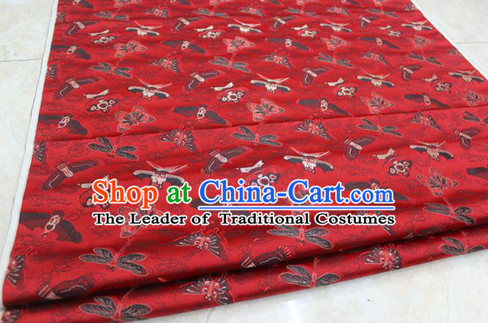 Chinese Traditional Ancient Costume Palace Kite Pattern Cheongsam Red Brocade Xiuhe Suit Satin Fabric Hanfu Material