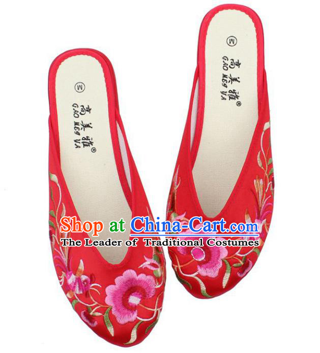 Traditional Chinese National Red Satin Embroidered Shoes, China Handmade Embroidery Peony Hanfu Slippers for Women