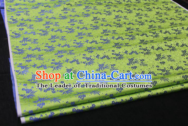 Chinese Traditional Ancient Costume Palace Bamboo Pattern Cheongsam Green Brocade Xiuhe Suit Satin Fabric Hanfu Material