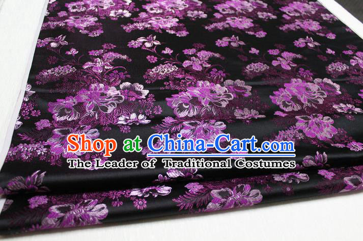 Chinese Traditional Ancient Costume Palace Flowers Pattern Black Brocade Tang Suit Satin Cheongsam Fabric Hanfu Material