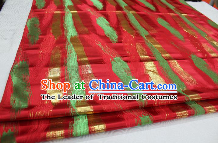 Chinese Traditional Ancient Costume Palace Pattern Red Brocade Tang Suit Satin Cheongsam Fabric Hanfu Material