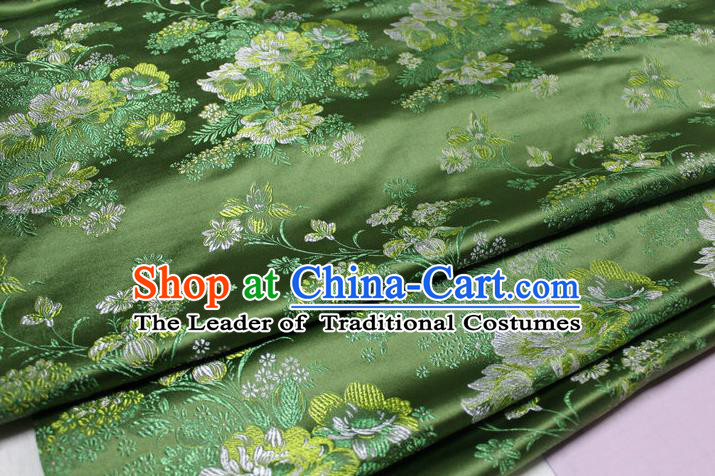 Chinese Traditional Ancient Costume Palace Flowers Pattern Green Brocade Tang Suit Satin Cheongsam Fabric Hanfu Material