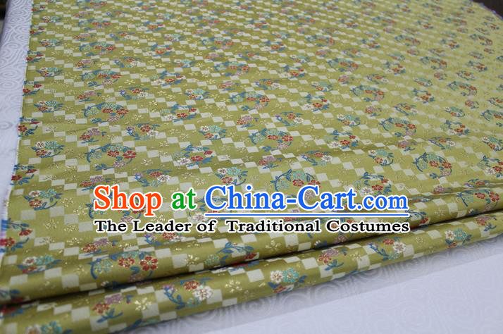 Chinese Traditional Ancient Costume Palace Pattern Cheongsam Yellow Brocade Tang Suit Satin Fabric Hanfu Material