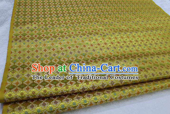 Chinese Traditional Ancient Costume Royal Palace Pattern Cheongsam Yellow Brocade Tang Suit Satin Fabric Hanfu Material