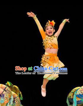 Traditional Chinese Yangge Fan Dance Costume, Folk Dance Drum Dance Yellow Uniform Yangko Clothing for Kids
