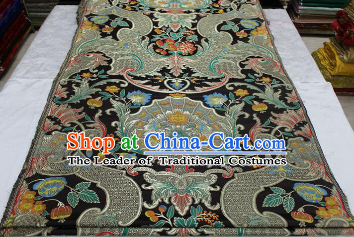 Chinese Traditional Ancient Costume Palace Pattern Mongolian Robe Black Brocade Tang Suit Satin Fabric Hanfu Material
