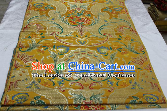 Chinese Traditional Ancient Costume Palace Pattern Mongolian Robe Yellow Brocade Tang Suit Satin Fabric Hanfu Material