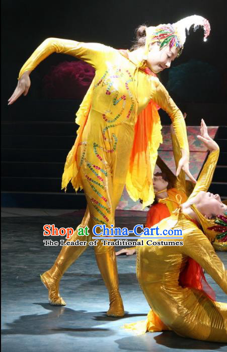 Traditional Chinese Yangge Fan Chicken Dance Costume, Folk Dance Drum Dance Uniform Yangko Clothing for Kids