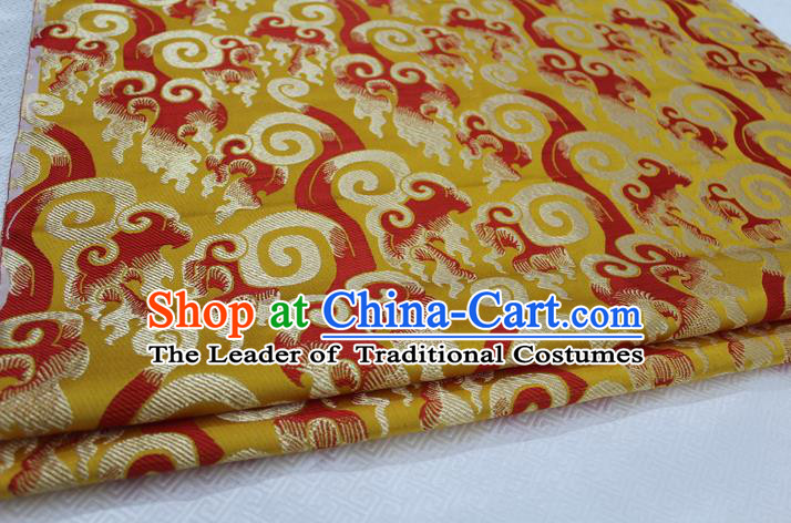 Chinese Traditional Ancient Costume Royal Palace Pattern Tang Suit Yellow Brocade Cheongsam Satin Fabric Hanfu Material