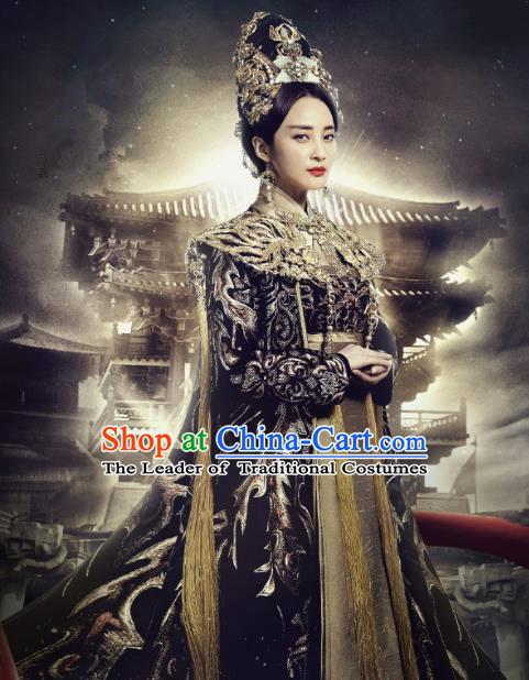 Traditional Ancient Chinese Tang Dynasty Empress Palace Queen Embroidered Tailing Dress Costume and Headpiece Complete Set for Women