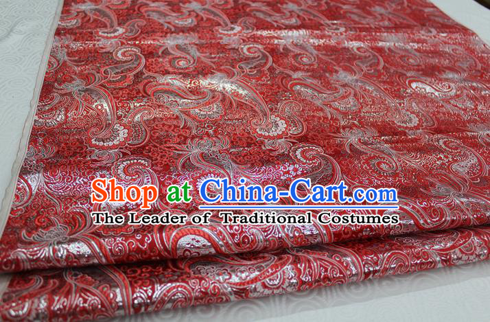 Chinese Traditional Ancient Costume Royal Palace Pattern Mongolian Robe Red Brocade Cheongsam Satin Fabric Hanfu Material