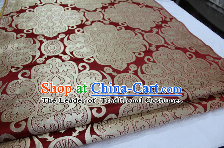Chinese Traditional Ancient Costume Royal Palace Pattern Mongolian Robe Wine Red Brocade Satin Fabric Hanfu Material