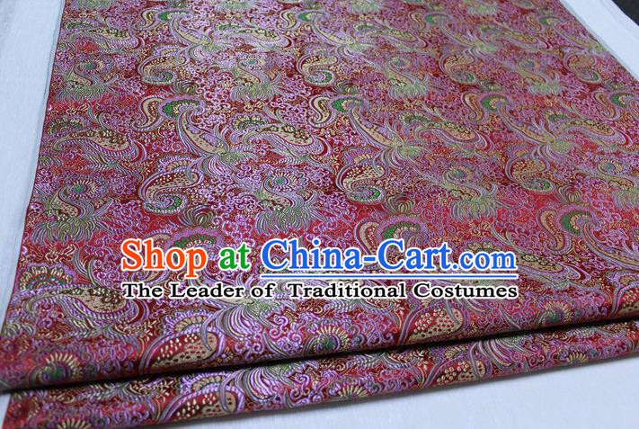 Chinese Traditional Ancient Costume Royal Palace Pipa Flower Pattern Mongolian Robe Brocade Satin Fabric Hanfu Material