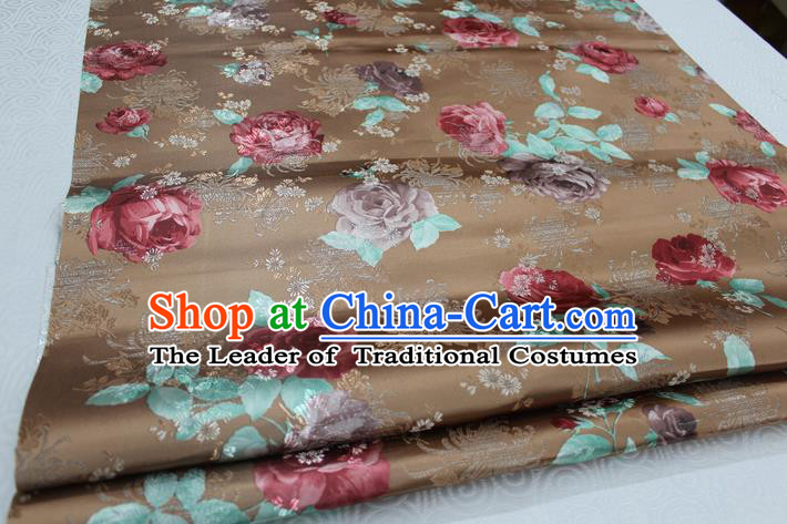 Chinese Traditional Ancient Costume Tang Suit Cheongsam Brown Brocade Palace Pattern Satin Fabric Hanfu Material