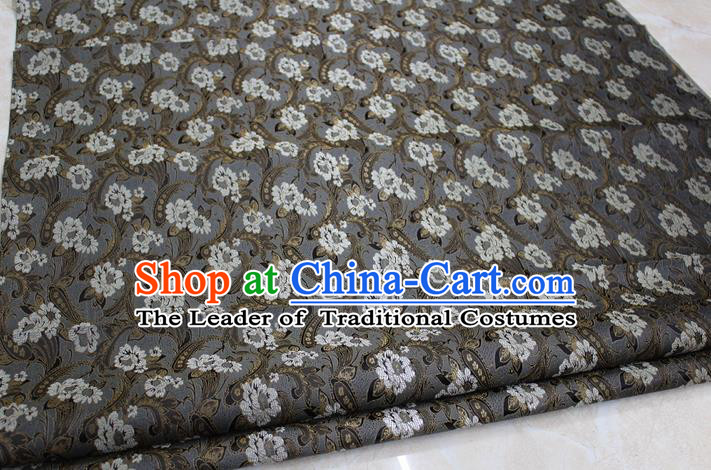 Chinese Traditional Wedding Cheongsam Brown Brocade Ancient Costume Palace Pattern Tang Suit Satin Fabric Hanfu Material