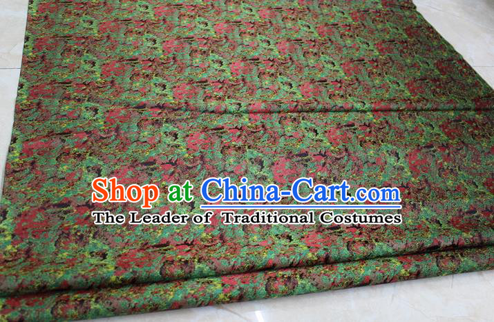 Chinese Traditional Wedding Cheongsam Green Brocade Ancient Costume Palace Pattern Tang Suit Satin Fabric Hanfu Material