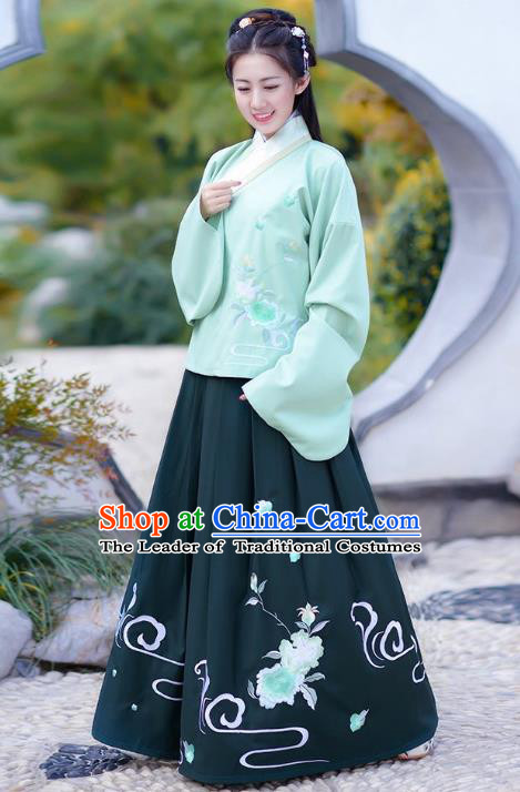 Traditional Chinese Ming Dynasty Young Lady Princess Hanfu Embroidered Costume for Women