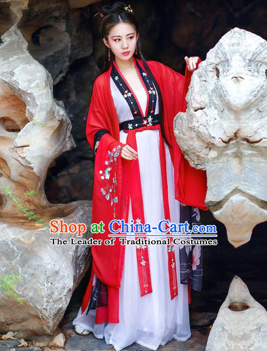 Traditional Chinese Tang Dynasty Imperial Consort Hanfu Embroidered Costume Complete Set for Women