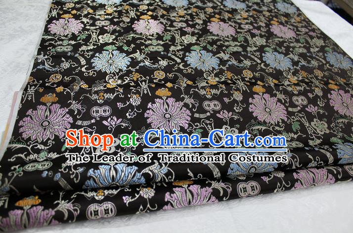 Chinese Traditional Clothing Palace Pattern Cheongsam Black Brocade Ancient Costume Mongolian Robe Satin Fabric Hanfu Material