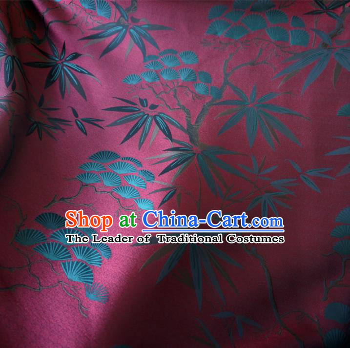 Chinese Traditional Clothing Royal Court Pine Bamboo Pattern Tang Suit Wine Red Brocade Ancient Costume Cheongsam Satin Fabric Hanfu Material