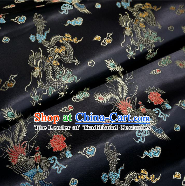 Chinese Traditional Royal Court Dragons Pattern Black Brocade Ancient Costume Tang Suit Cheongsam Bourette Fabric Hanfu Material
