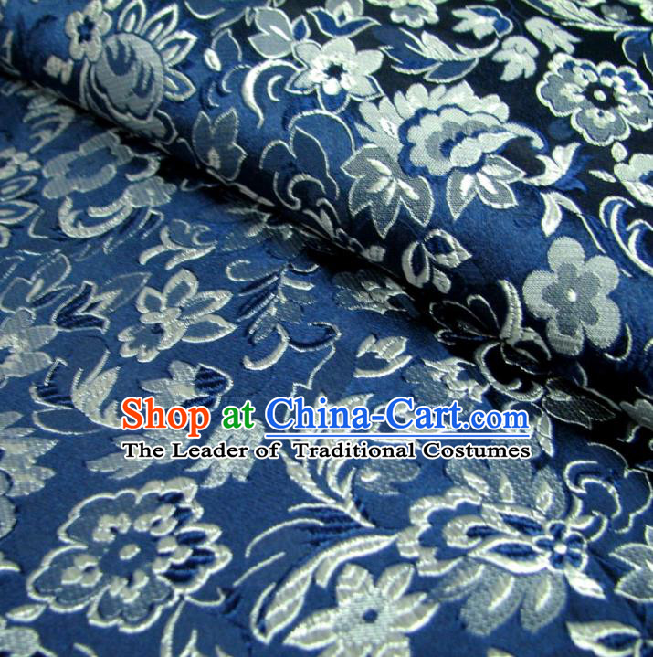 Chinese Traditional Royal Court Wintersweet Pattern Blue Brocade Ancient Costume Tang Suit Cheongsam Bourette Fabric Hanfu Material
