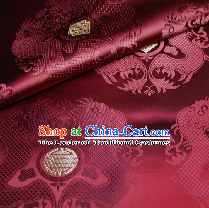 Chinese Traditional Royal Court Dragons Pattern Wine Red Brocade Ancient Costume Tang Suit Cheongsam Bourette Fabric Hanfu Material