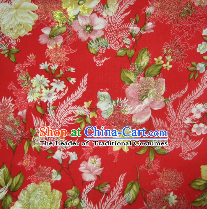 Chinese Traditional Royal Court Dragons Phoenix Peony Pattern Red Brocade Ancient Costume Tang Suit Cheongsam Bourette Fabric Hanfu Material