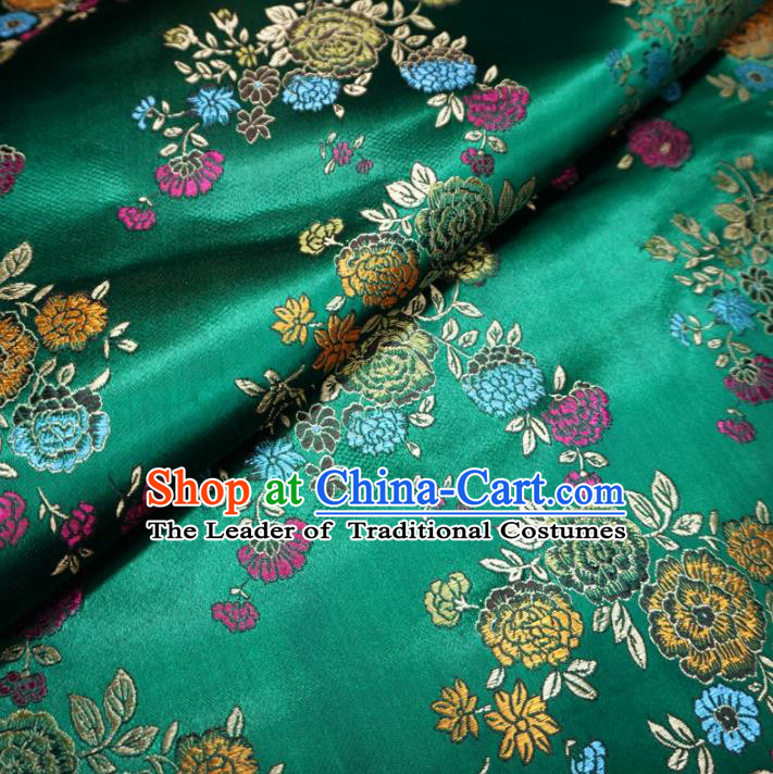 Chinese Traditional Royal Court Flowers Pattern Green Brocade Ancient Costume Tang Suit Cheongsam Bourette Fabric Hanfu Material
