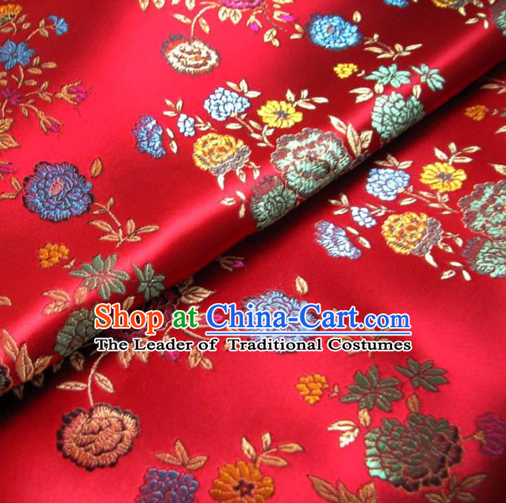 Chinese Traditional Royal Court Flowers Pattern Red Brocade Ancient Costume Tang Suit Cheongsam Bourette Fabric Hanfu Material