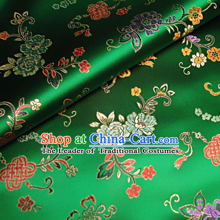Chinese Traditional Royal Court Chinese Knots Pattern Green Brocade Ancient Costume Tang Suit Cheongsam Bourette Fabric Hanfu Material