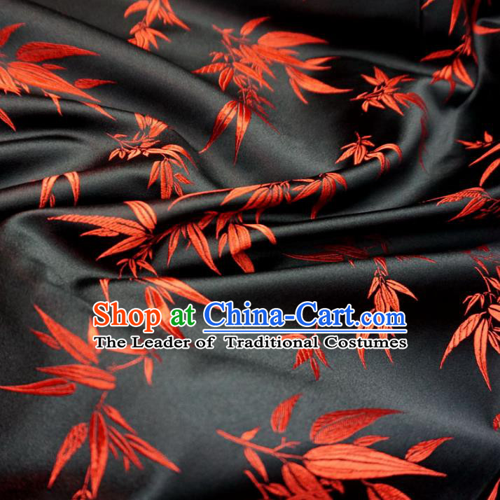 Chinese Traditional Royal Court Bamboo Pattern Black Brocade Ancient Costume Tang Suit Cheongsam Bourette Fabric Hanfu Material