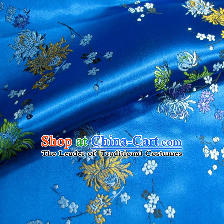 Chinese Traditional Royal Court Chrysanthemum Pattern Blue Brocade Ancient Costume Tang Suit Cheongsam Bourette Fabric Hanfu Material