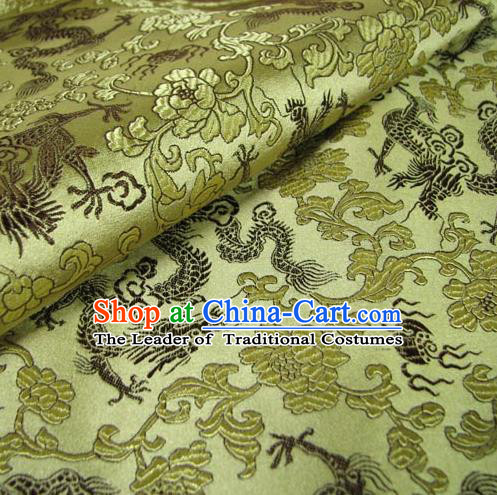 Chinese Traditional Royal Court Dragons Pattern Yellow Brocade Ancient Costume Tang Suit Cheongsam Bourette Fabric Hanfu Material